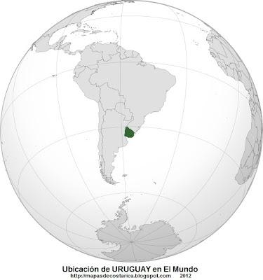 Ubicación de URUGUAY en El Mundo, wikipedia
