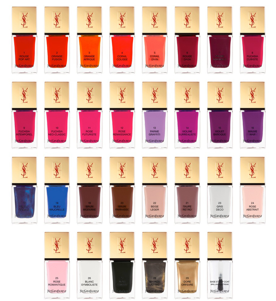 yves saint laurent elle: YSL La Laque Couture: 30 Colors