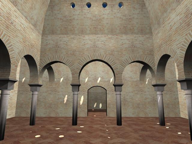 Baños Romanos Granada:Sala templada del baño granadino de la Casa de las Tumbas, de época