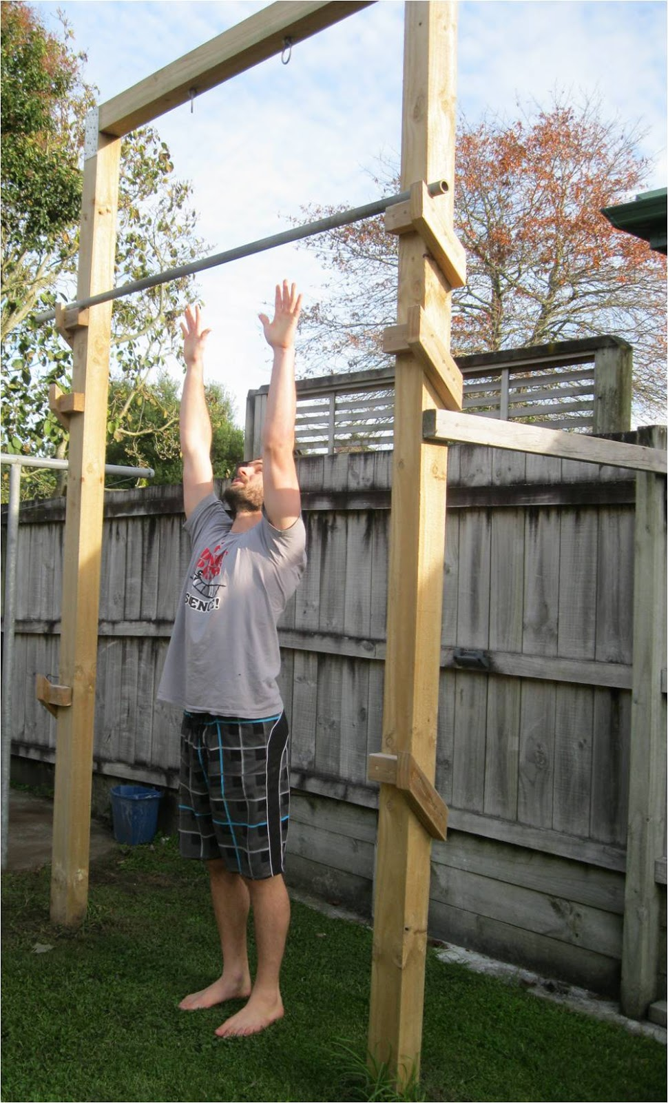 pull up bar in your backyard back to primal pull up frame