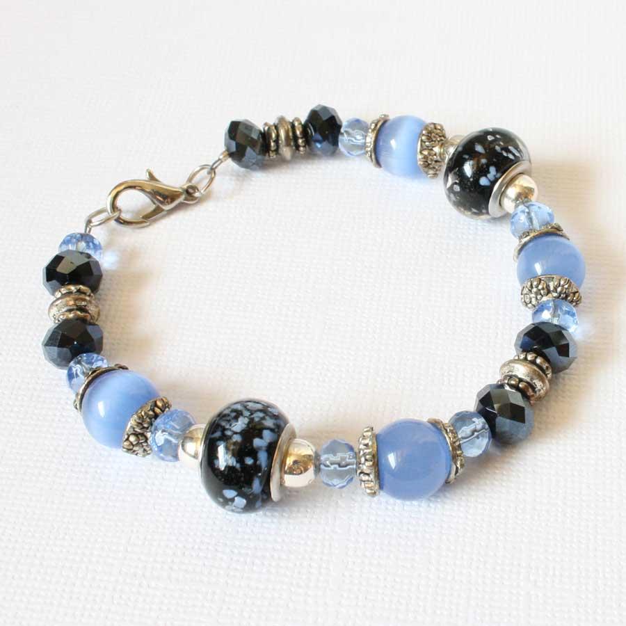 beading owl sapphire blue beaded bracelet