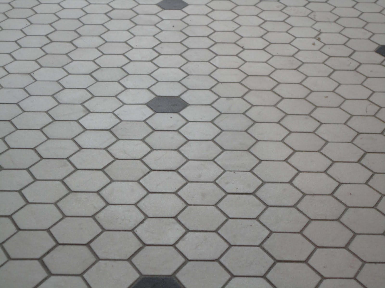 Corner Of 9th And Paradise Hex Floor Grouted Subway Tile
