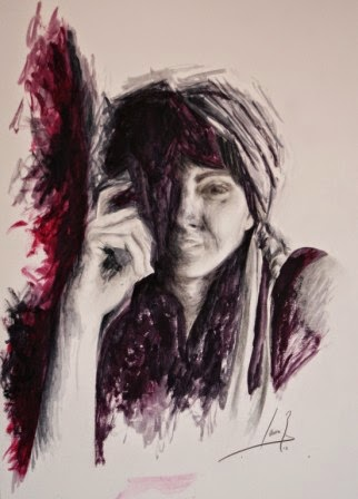 Autorretrato. Grafito y Gouache 2012. 31x23cm