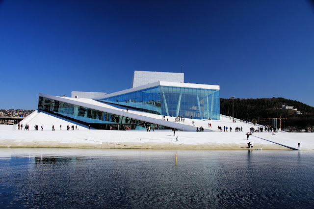 The futuristic Norwegian Opera and Ballet building in Oslo, Norway. Photo Credits: Innovation Norway, Bjørn Eirik Østbakken and Visitnorway.com. Unauthorized use is prohibited.