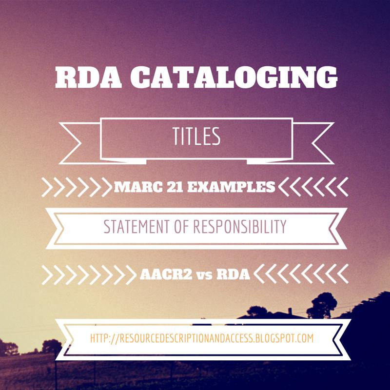 Resource Description & Access (RDA)
