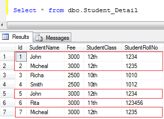 find duplicate records in a table in SQL server