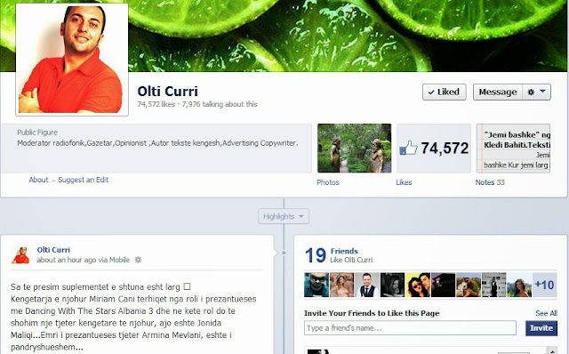 Olti Curri shkruan ne Facebook