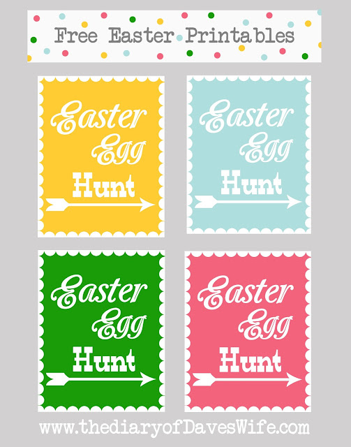 The Diary of Dave's Wife Easter Egg Hunt Printable in 4 Colors