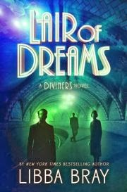 Cover of Lair of Dreams, featuring three people of various genders milling along a blue-tinted subway platform with an elegantly arched roof. A ghostly green light emanates from the tunnel that curves away behind the figures.
