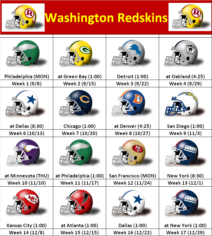 2013 Washington Redskins Helmet Schedule