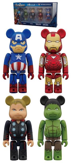 Marvel's The Avengers Movie Be@rbrick 4 Pack by Medicom - Captain America, Iron Man, Thor & Hulk