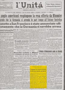 """""""L'UNITA"""" DEL 29 APRILE 1945"""