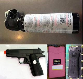 (L-R) Bear Mace (EWR), Airsoft Gun (BWI), Stun Gun (ABQ), Stun Gun (LAS)