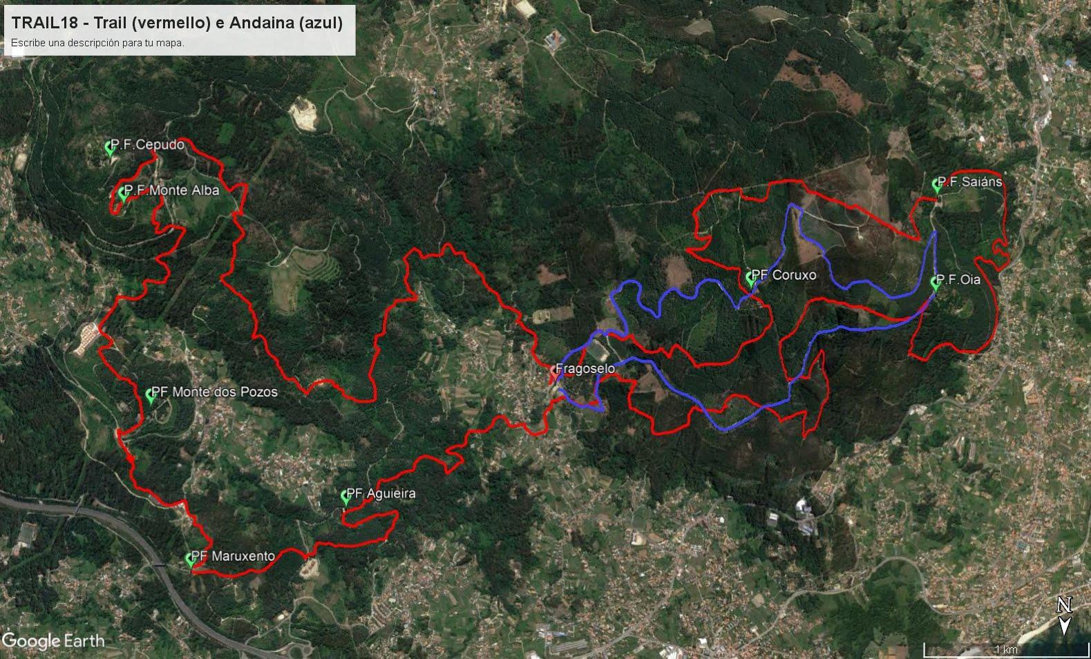 Trazado Trail e Andaina