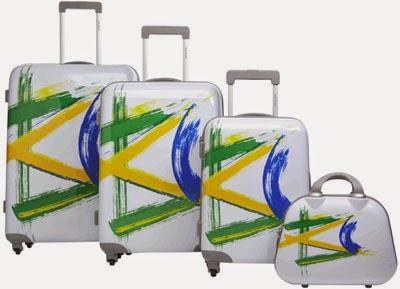 malas rígidas decoradas bandeiras do Brasil Le Postiche Copa do Mundo