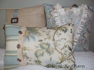 three pillows, vintage dress lace, pillow case lace, vintage buckle