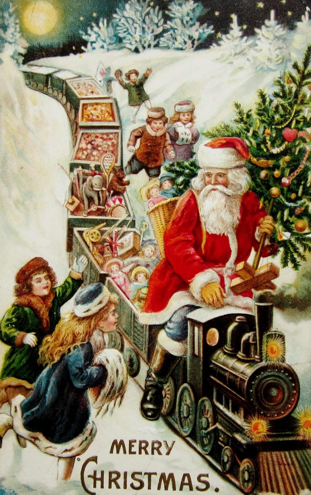 santa claus with no sleigh christmas postcards