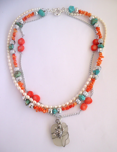 sweetwater pearl, turquoise, shell and seaglass statement necklace
