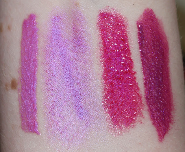 Illamasqua Boost Intense Lipgloss, Illamasqua Underworld Lipstick, Armour lipgloss in Grace, Anastasia lip gloss in Electro