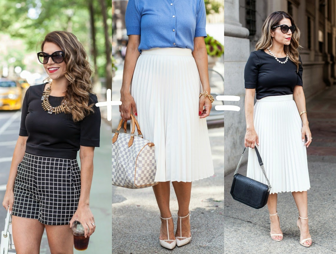 Pleated White Skirt black crop top express top jcrew necklace nude heels fashion blogger corporate fashion blogger nyc blogger foley+corrina handbag black bag chanel inspired simple outfits black and white outfits