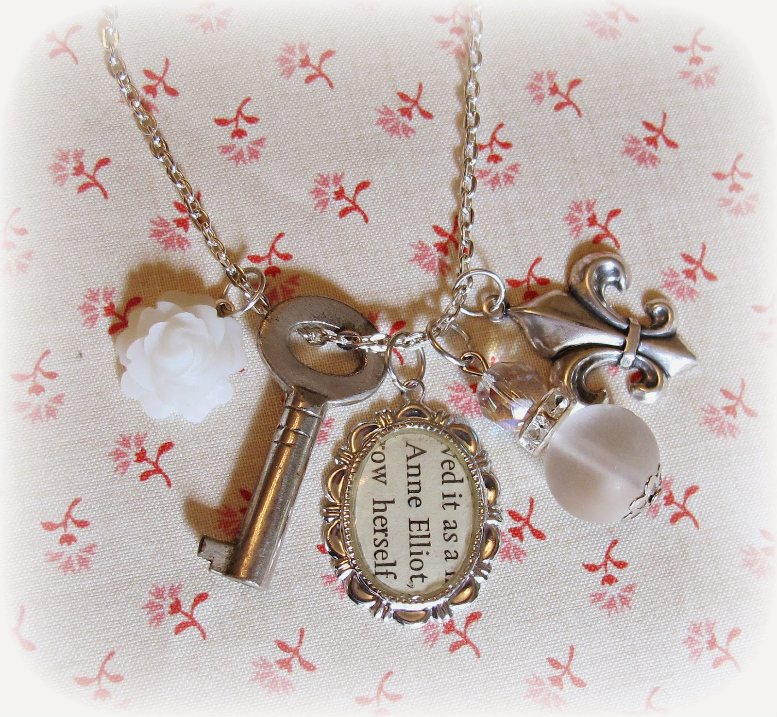 image jane austen charm necklace anne elliot persuasion skeleton key vintage white fleur de lys two cheeky monkeys