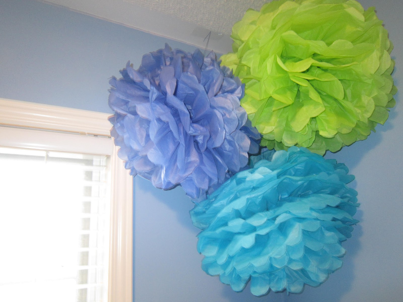 Tissue paper pom-poms, kids room decor
