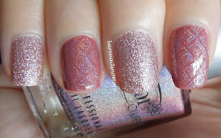 China Glaze Hello Gorgeous and Essence English Rose stamped with Color Club Miss Bliss BM203