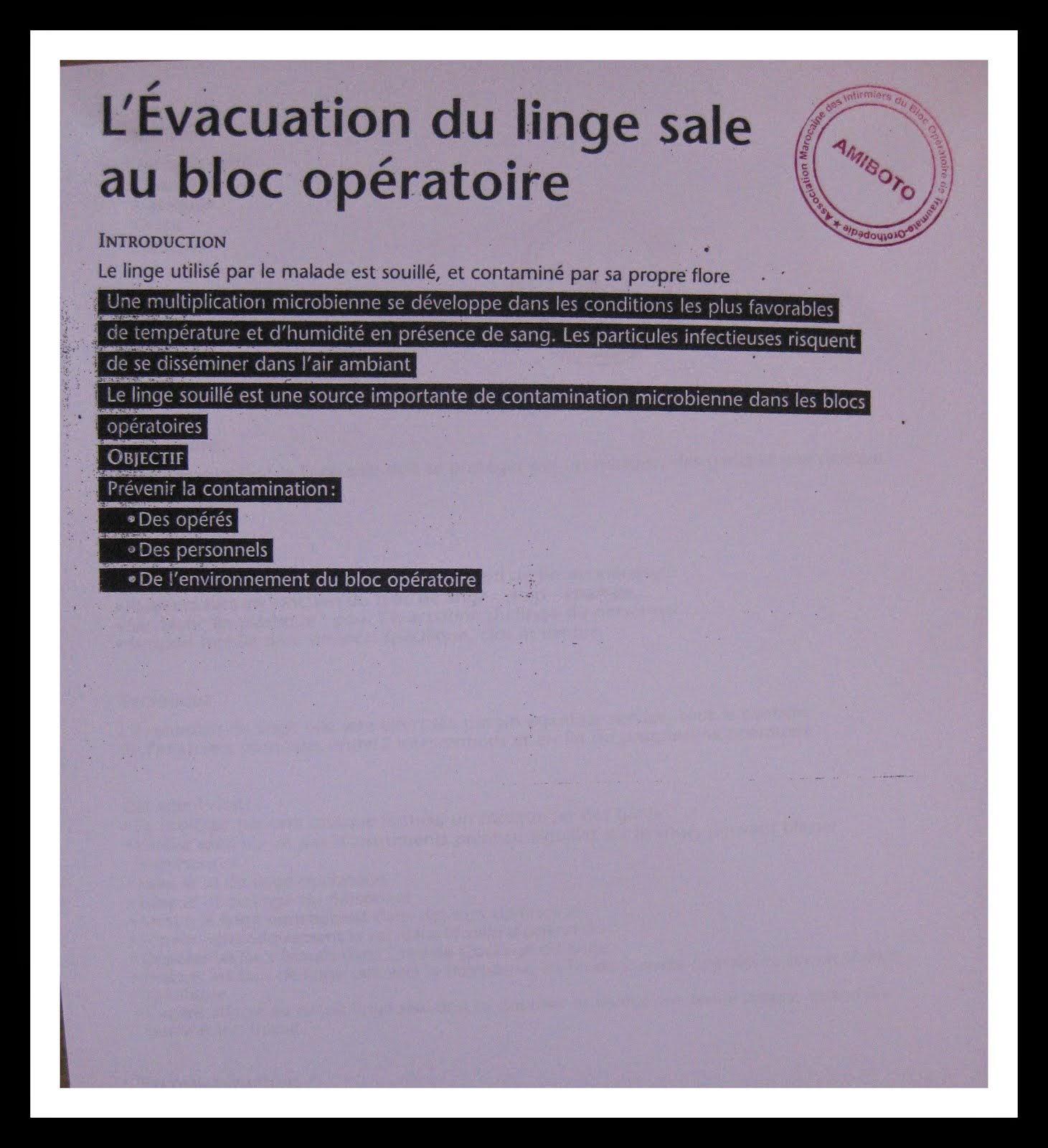 L EVACUATION DU LINGE SALE AU BLOC OPERATOIRE