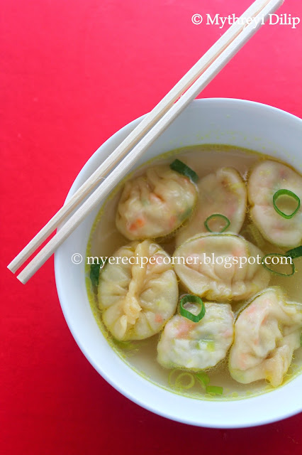 vegetable wonton soup / short soup - indian chinese recipe