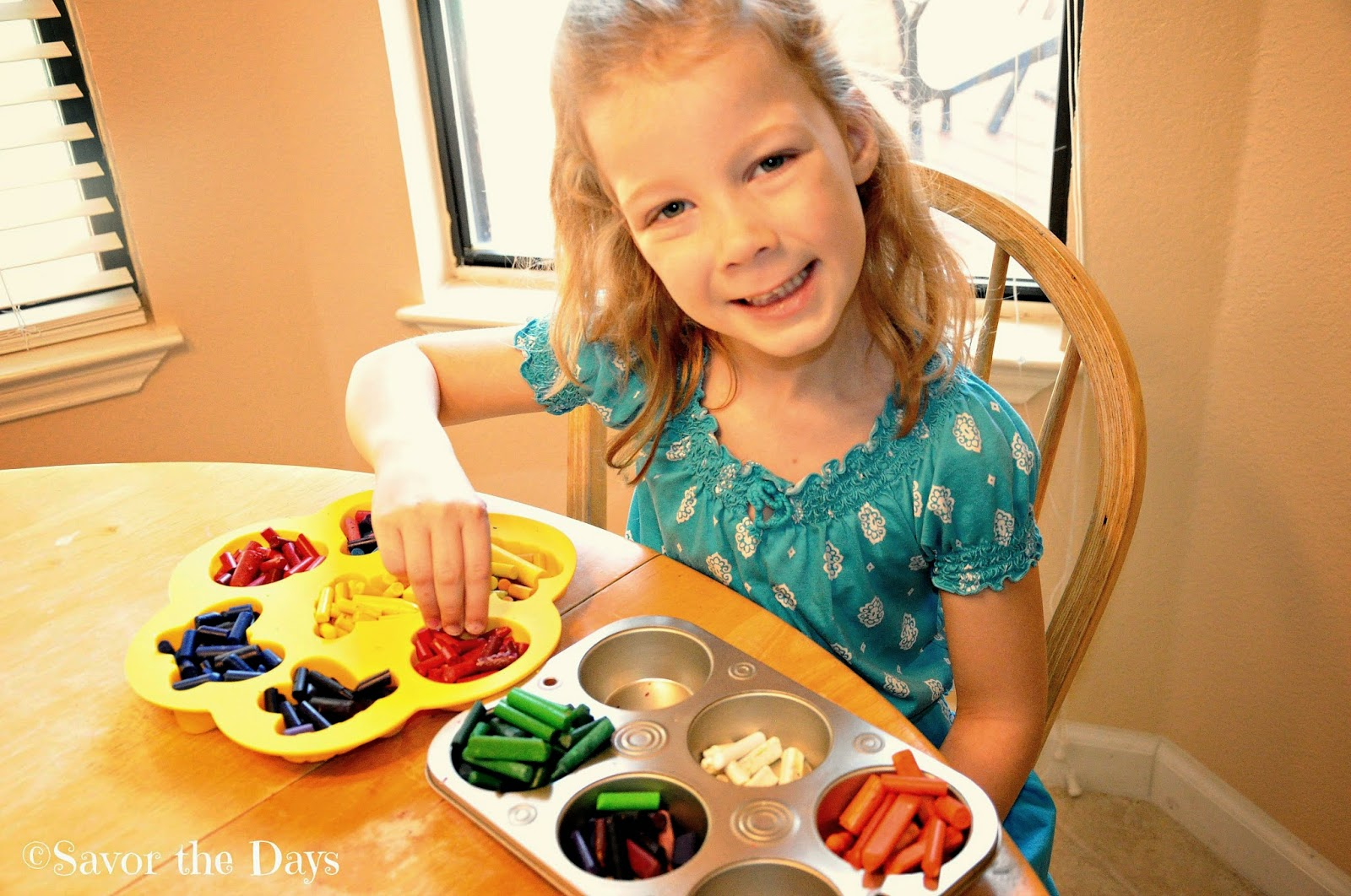 sorting colored crayons