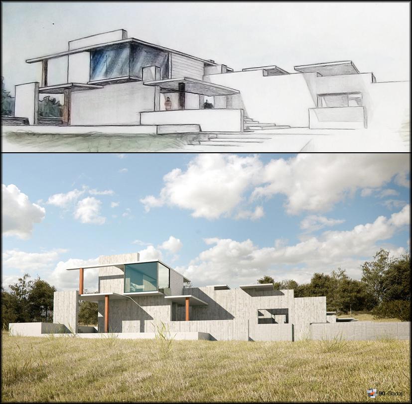 Renders de arquitectura por 90 grados casa minimalista for Render casa minimalista