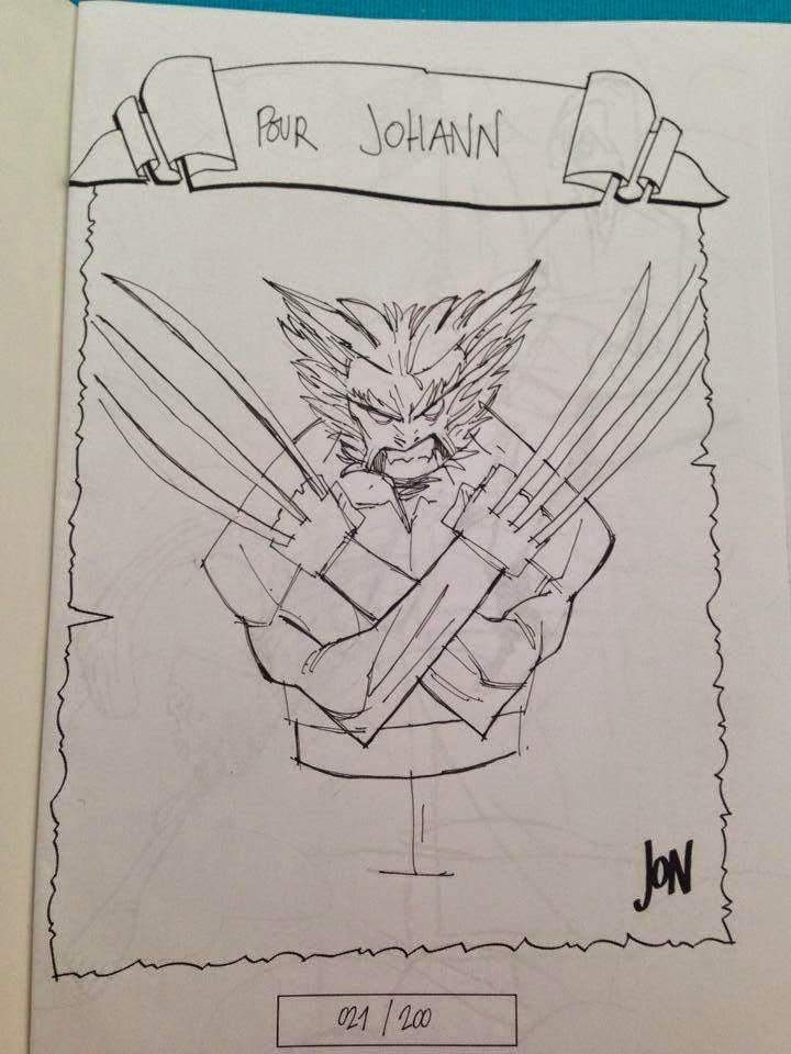 jonathan jon lankry 2D artist animation comic book animated sketchbook 2014 dedicace logan wolverine weapon x marvel x-men