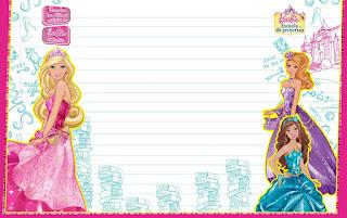 Caratula Horizontal para cuadernos de niña de Barbie