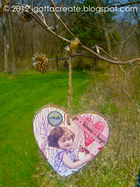 Wood You Be Mine?  Romantic wood heart #Valentine ornament tutorial at I Gotta Create!