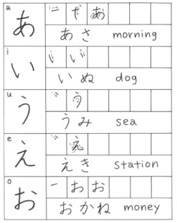 menulis hiragana aiueo