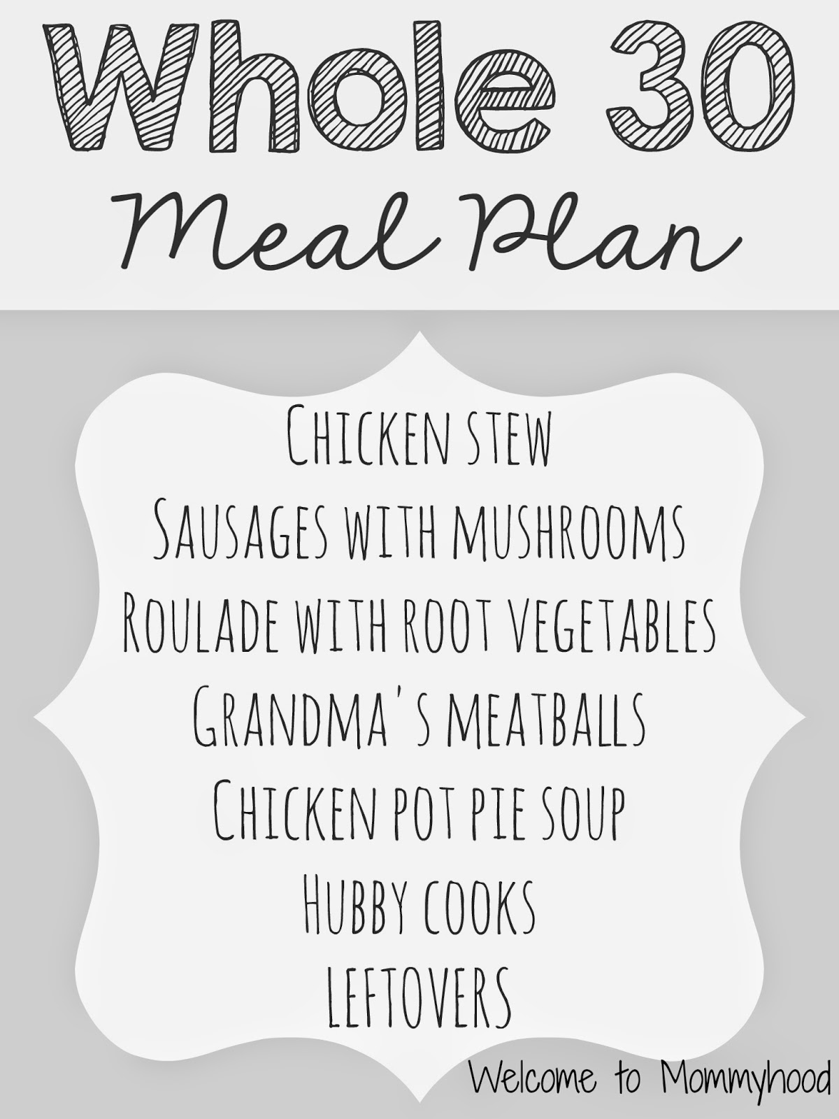 Whole 30 Meal Plan by Welcome to Mommyhood #whole30, #paleo