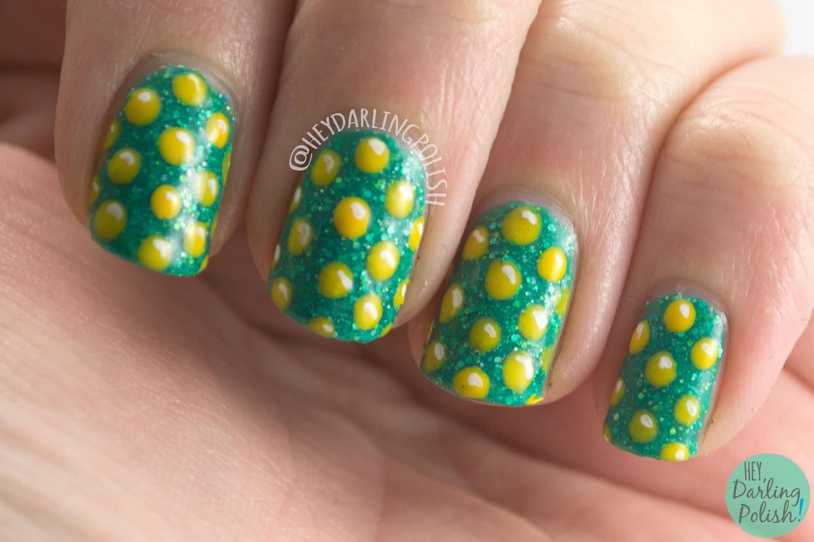 nails, nail art, nail polish, saint patricks day, polka dots, gold coins, green, indie polish, gold, hey darling polish, hobby polish bloggers