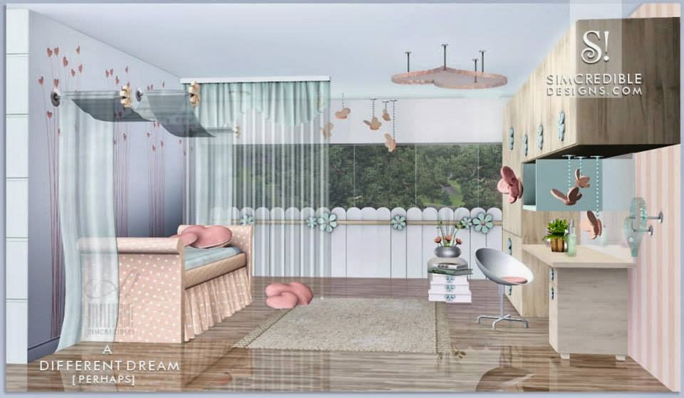 My sims 3 blog a different dream bedroom set for girls by for Bedroom designs sims 4