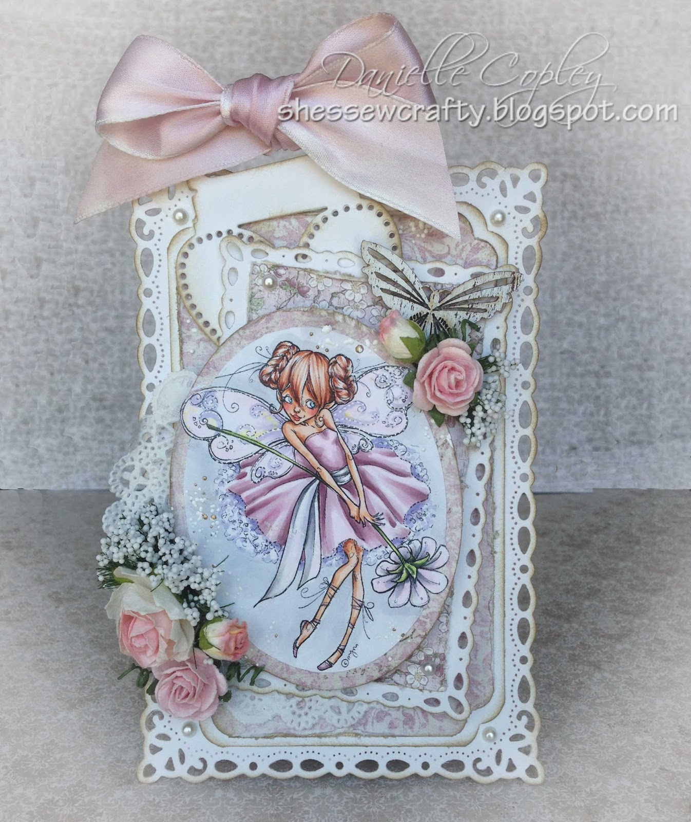 Vintage and Shabby Chic Card using Mo's Digital Pencil Teen Fairy Mia using Maja paper and Magnolia Doohickey Tag and Copic markers for Scrapbook Maven