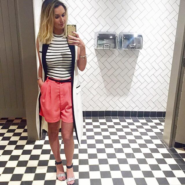 ootd monochrome stripes and coral