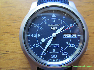 "Seiko SNK807 ""Seiko 5"" Automatic Men's Watch: Closeup Of Dial"
