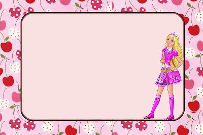 Tarjeta imprimible gratis de Barbie Escuela de Princesas, con cerezas