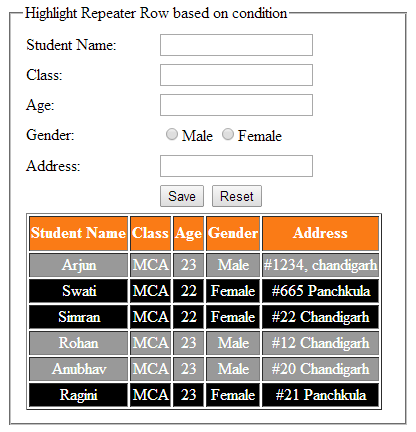 Highlight or change asp.net repeater row background color based on condition