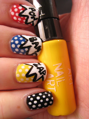 Litchenstein-nail-art-red-blue-yellow-white-black-polis