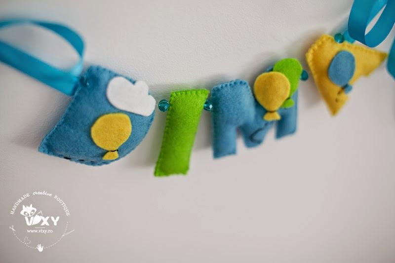 ornament nume bebelus, ornament personalizat, numde decor fetru, nume decor personalizat tema baloane, tema baloane, nume fetru tema baloane, cadou deosebit bebelus