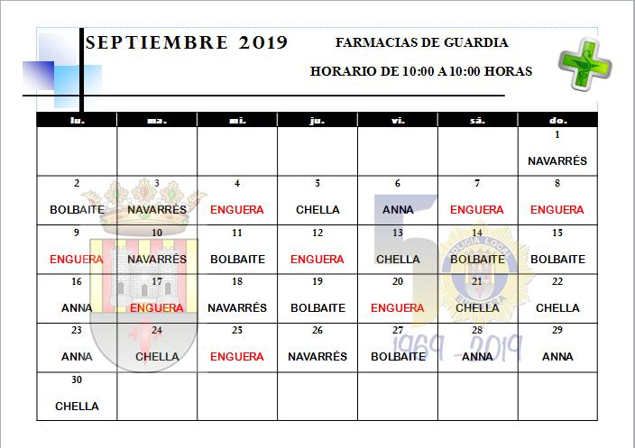 FARMACIAS DE GUARDIA MES DE SEPTIEMBRE 2019