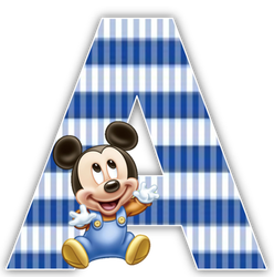 Alfabeto Mickey Bebé con fondo en rayas celestes.