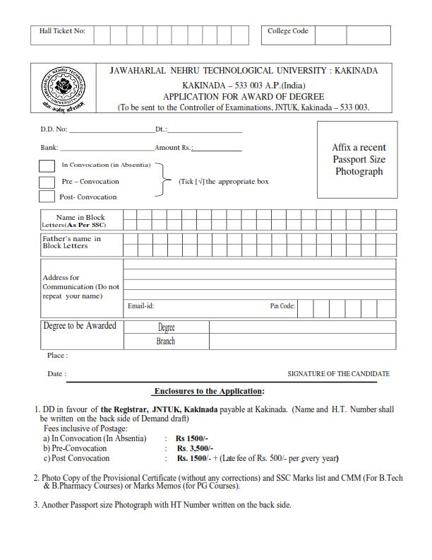 OD(ORIGINAL DEGREE) APPLICATION FORM NEW FOR 2011 U0026 2012 PASSOUTS