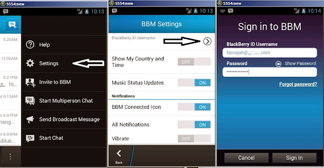 How to Log out BBM for Android