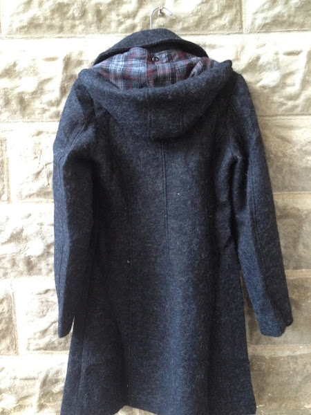 Heart coat, detachable plaid lined hood.  $168